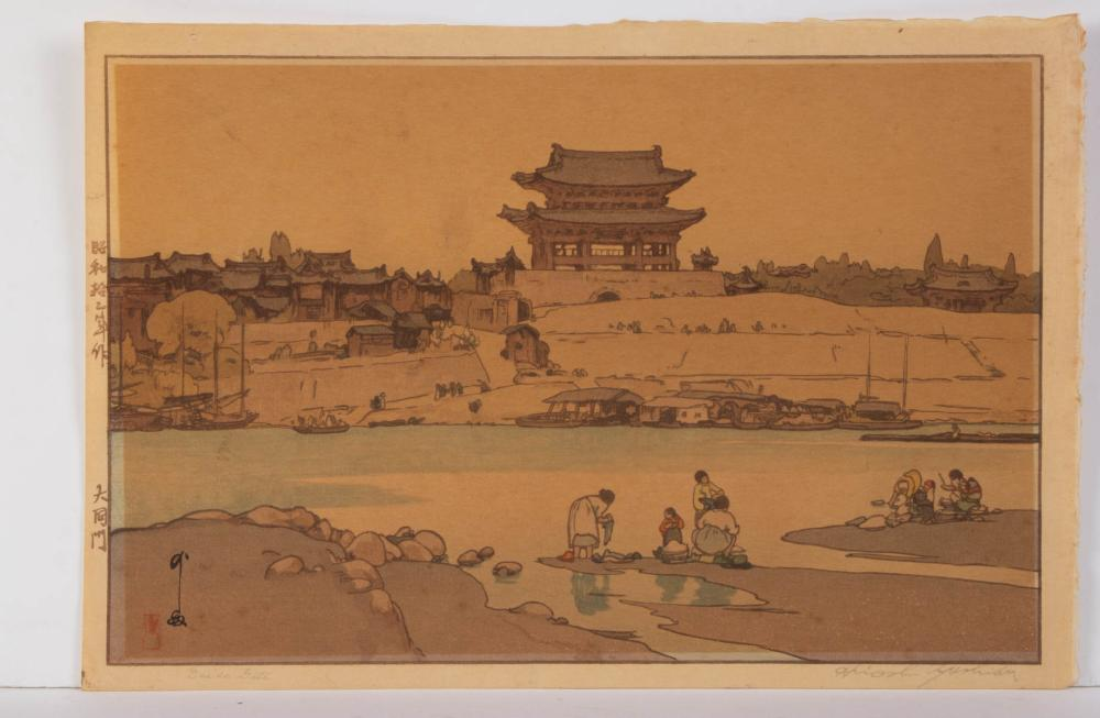 YOSHIDA HIROSHI (JAPANESE, 1876-1950) DAIDO GATE WOODBLOCK PRINT