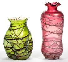 BOHEMIAN VEINED ART GLASS VASES, LOT OF TWO