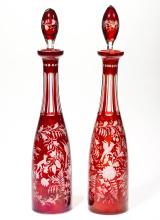 BOHEMIAN CUT AND ENGRAVED PAIR OF DECANTERS
