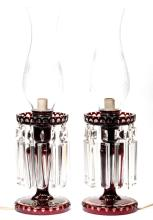 BOHEMIAN CUT OVERLAY PAIR OF ELECTRIC MANTLE LUSTERS