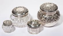 AMERICAN GLASS AND STERLING SILVER DRESSER JARS, LOT OF FOUR