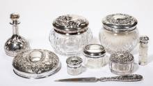 AMERICAN STERLING SILVER AND GLASS DRESSER ARTICLES, LOT OF SEVEN