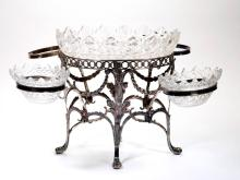 ENGLISH STERLING SILVER AND CUT GLASS EPERGNE