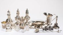 ASSORTED STERLING SILVER CONDIMENT AND OTHER ARTICLES, LOT OF 20