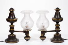 MESSENGER AND SONS SINGLE-ARM PAIR OF ARGAND LAMPS