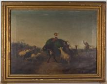 ANTONIO MILONE (ITALIAN, 1834-1919) PASTORAL LANDSCAPE PAINTING