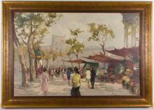 PIERRE DUMONT (FRENCH, 20TH CENTURY) PARISIAN STREET SCENE PAINTING