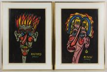 PAIR OF WINSLOW ANDERSON (AMERICAN, 1917-2007) ABSTRACT PORTRAITS