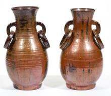 WINSLOW ANDERSON PLYMOUTH POTTERY CERAMIC PAIR OF VASES