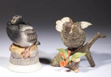 AMERICAN BOEHM / BURGUES HUMMINGBIRD PORCELAIN BIRD FIGURES, LOT OF TWO