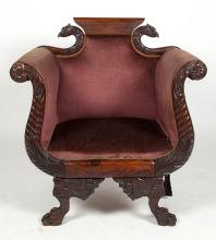 CLASSICAL STYLE CARVED MAHOGANY ARMCHAIR