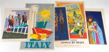 ASSORTED VINTAGE TRAVEL POSTERS, LOT OF FIVE