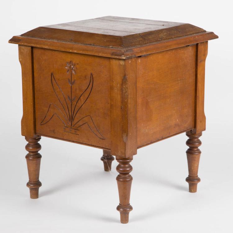 Carved maple shoeshine stool box