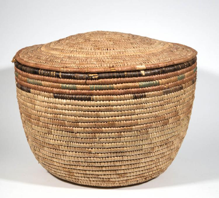 African Woven Baskets: LARGE AFRICAN WOVEN PALM COVERED BASKET