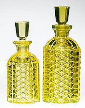 PRESSED PANELED CANE COLOGNE BOTTLES, LOT OF TWO
