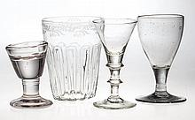 ASSORTED GLASS DRINKING VESSELS, LOT OF FOUR