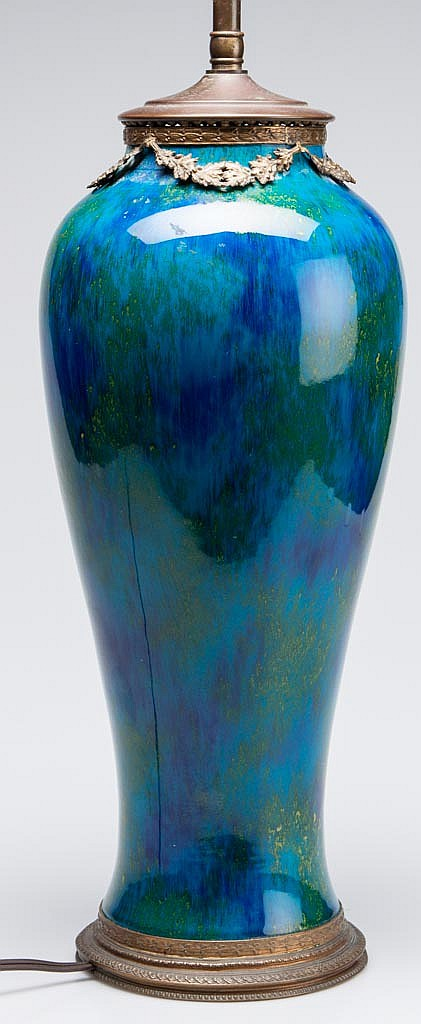 FRENCH AESTHETIC-PERIOD POTTERY PAUL MILET (1870-1950), SEVRES POTTERY BRASS-MOUNTED LAMPED VASE