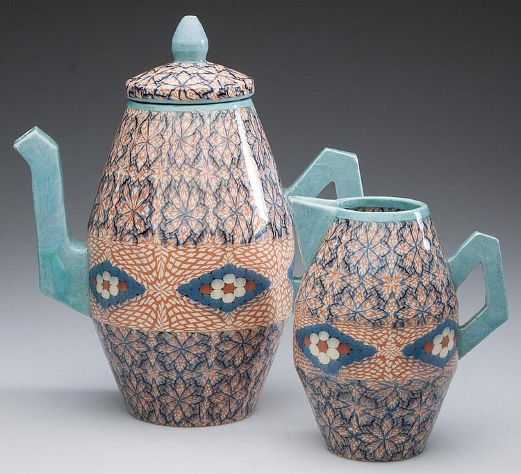 FRENCH ART DECO POTTERY, JEAN GERBINO (1876-1966), VALLAURIS MOSAIC-TECHNIQUE COFFEE POT AND COVER AND A CREAMER