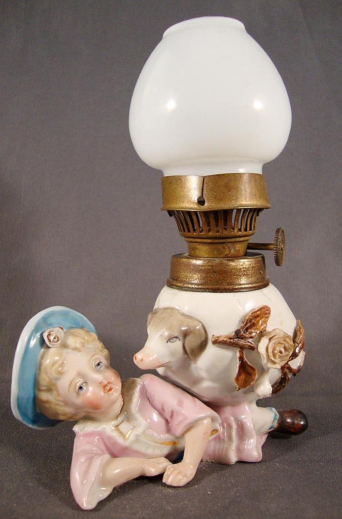 PORCELAIN FIGURAL MINIATURE LAMP