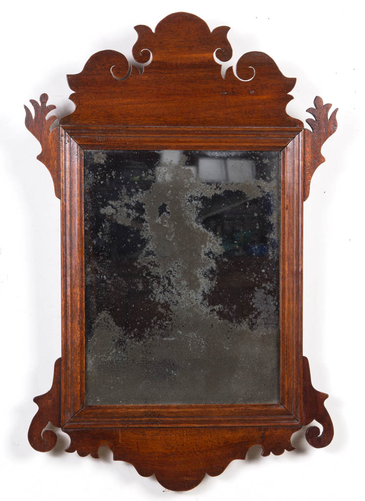CHIPPENDALE CARVED MAHOGANY WALL MIRROR