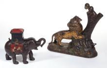 ELEPHANT WITH HOWDAH CAST-IRON MECHANICAL BANK