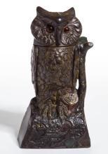 OWL TURNS HEAD CAST-IRON MECHANICAL BANK
