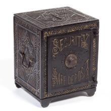 SECURITY SAFE DEPOSIT CAST-IRON PENNY / STILL BANK