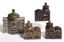 ASSORTED BUILDING CAST-IRON PENNY / STILL BANKS, LOT OF FOUR