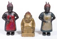 ASSORTED FIGURAL CAST-IRON PENNY / STILL BANKS, LOT OF THREE