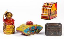 ASSORTED TIN BANKS, LOT OF FOUR