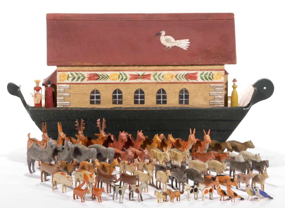 FOLK ART PAINTED WOOD NOAH'S ARK WITH ANIMALS, UNCOUNTED LOT