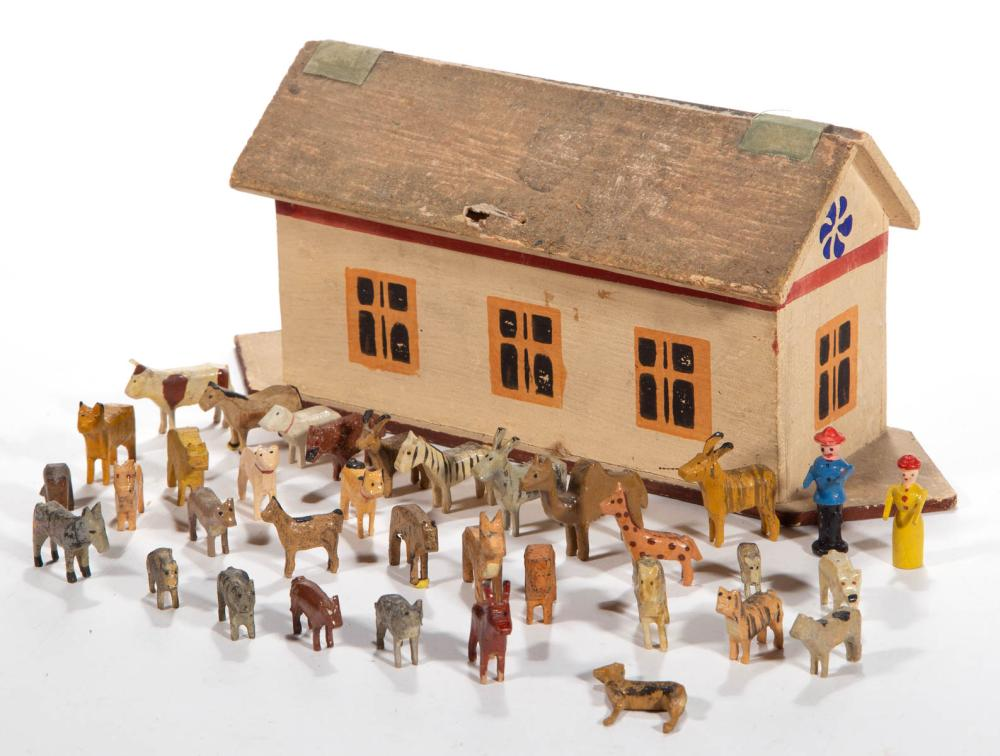 GERMAN PAINTED WOOD NOAH'S ARK TOY WITH MINIATURE FIGURES, UNCOUNTED LOT