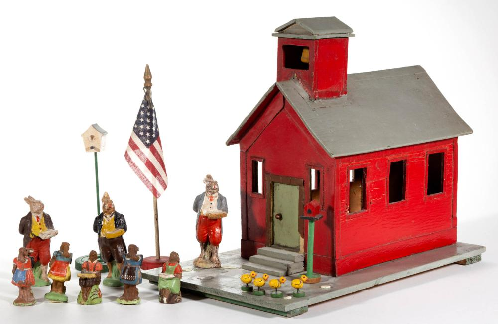 FOLK ART PAINTED WOOD SCHOOL HOUSE WITH FIGURES, LOT OF 16 PIECES