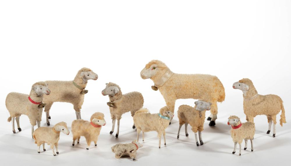 GERMAN COMPOSITION / PAPIER MACHE AND WOOD SHEEP TOYS, LOT OF 11