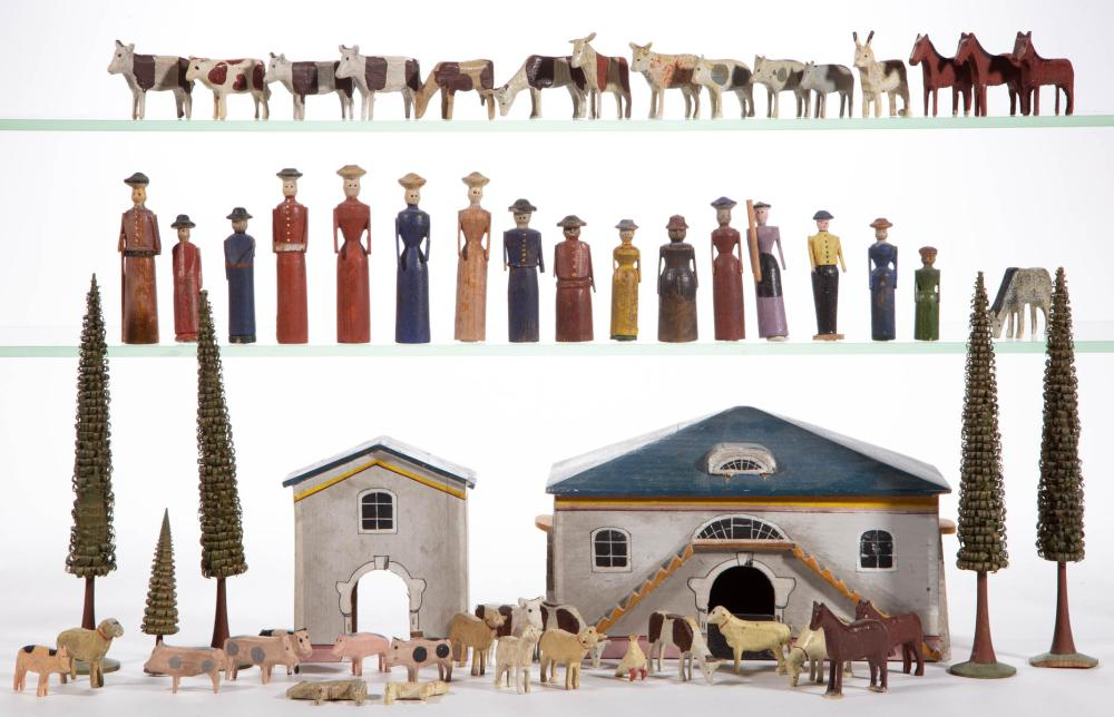 GERMAN PAINTED WOOD FIGURES, UNCOUNTED LOT