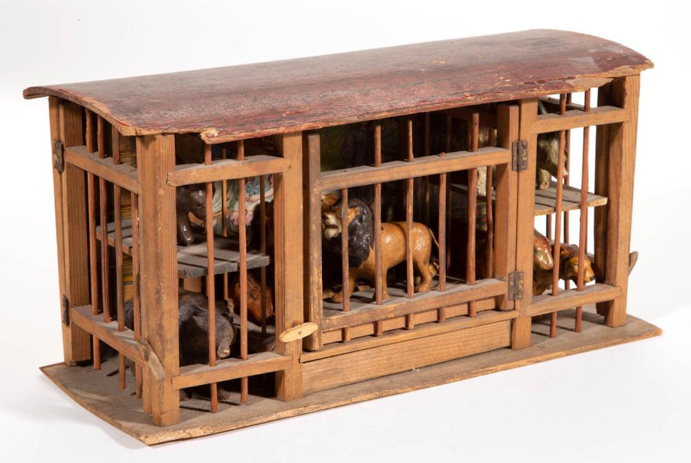 GERMAN WOODEN ZOO CAGE TOY WITH COMPOSITION / PAPIER MACHE ANIMAL FIGURES, LOT OF 11 PIECES
