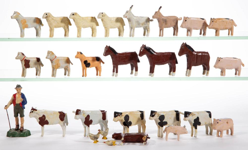 GERMAN WOODEN FARM ANIMAL FIGURES, LOT OF 26