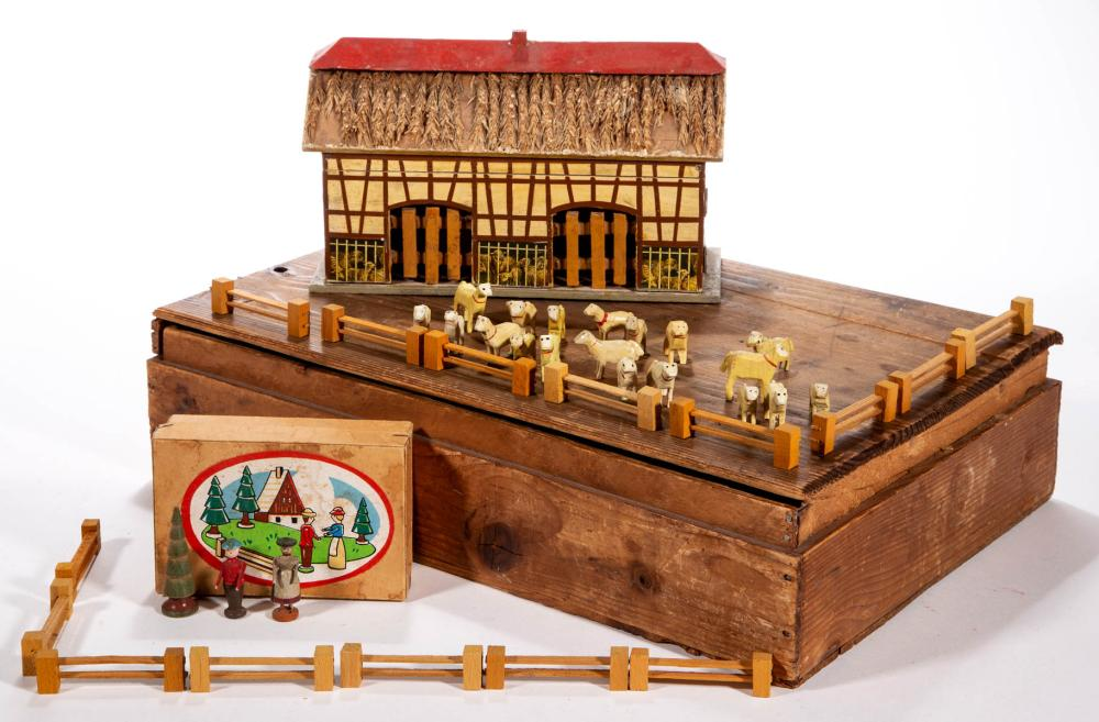 GERMAN WOODEN SHEEP FARM TOYS, UNCOUNTED LOT