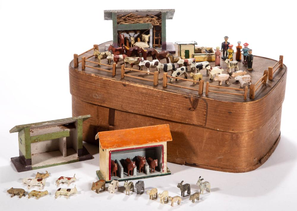 GERMAN WOODEN MINIATURE FIGURES, UNCOUNTED LOT