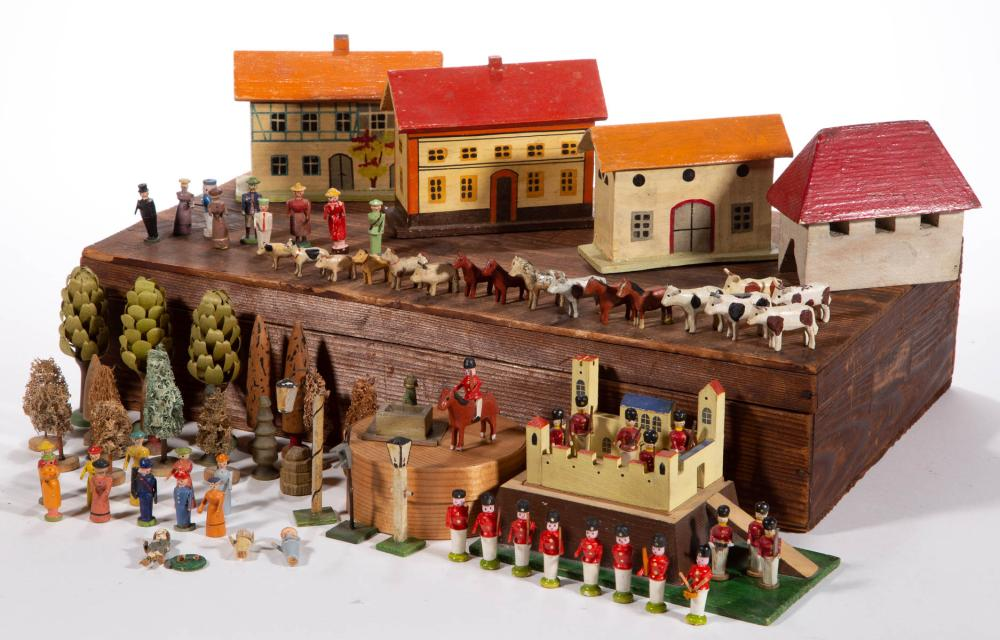 GERMAN WOODEN MINIATURE VILLAGE FIGURES, UNCOUNTED LOT
