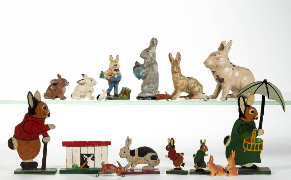 ASSORTED CAST-METAL AND WOOD RABBIT FIGURES, LOT OF 18