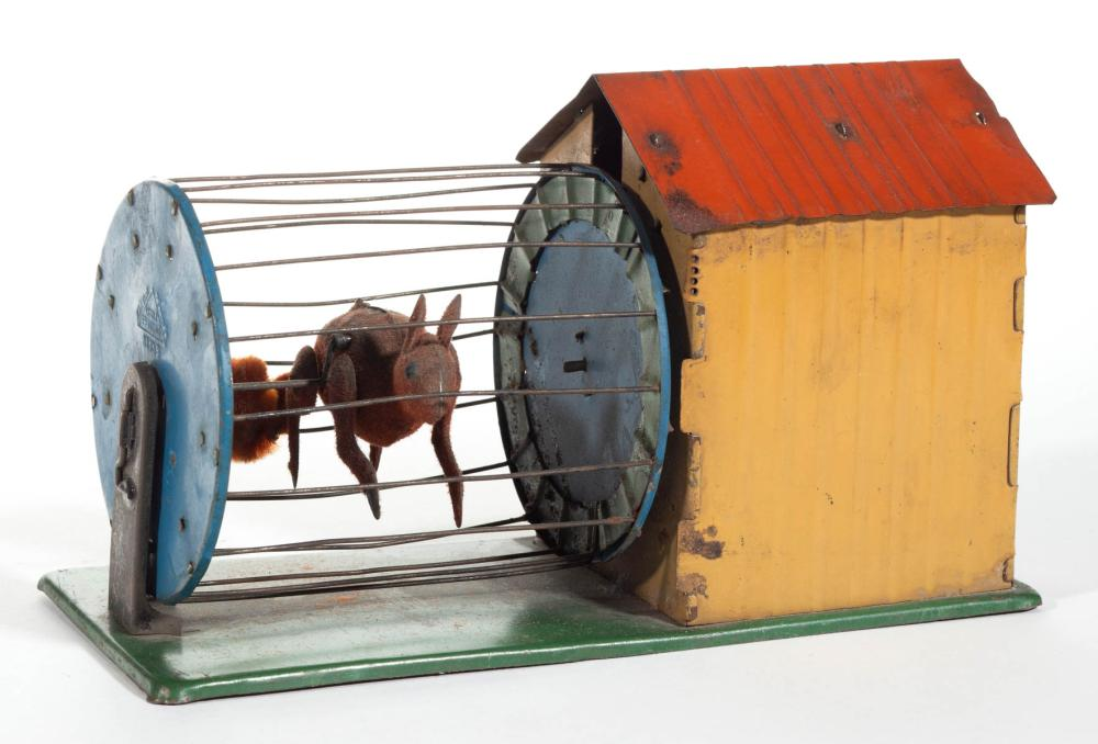 FERNAND MARTIN FRENCH SQUIRREL-IN-CAGE TIN MECHANICAL TOY