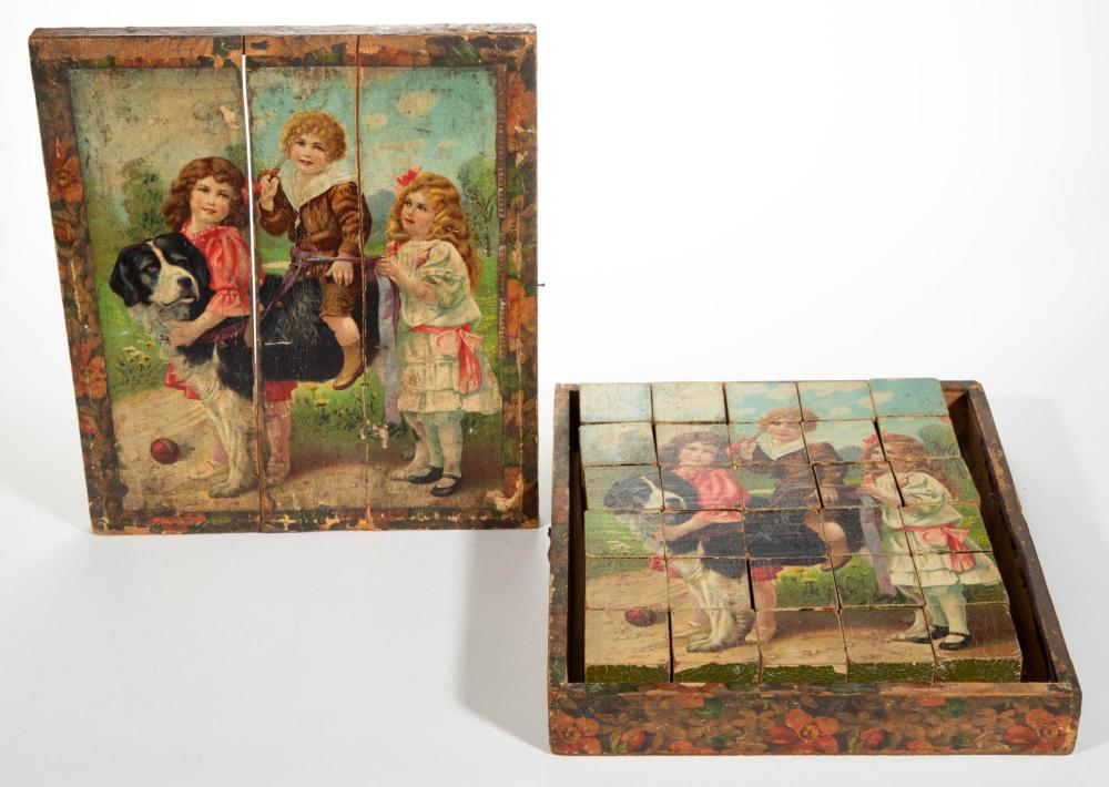 PICTORIAL LITHOGRAPHED BLOCK 30-PIECE PUZZLE WITH WOODEN BOX