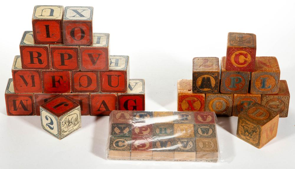 ANTIQUE WOOD ABC BLOCK TOYS, LOT OF 39