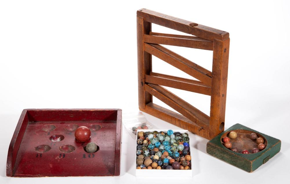 AMERICAN PAINTED WOOD GAMES WITH GLASS AND CLAY MARBLES, LOT OF TWO