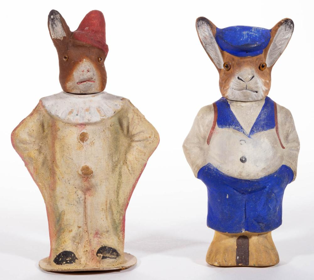 GERMAN COMPOSITION / PAPIER MACHE RABBIT CANDY CONTAINERS, LOT OF TWO
