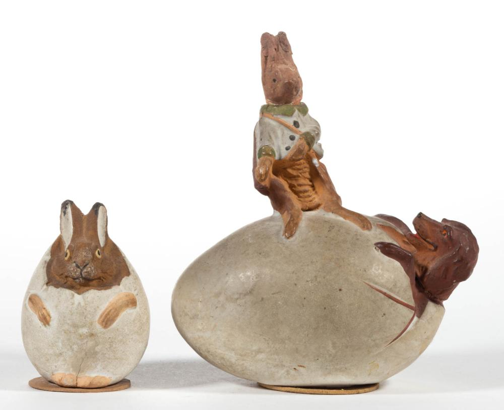 GERMAN COMPOSITION / PAPIER MACHE ANIMAL-IN-EGG CANDY CONTAINERS, LOT OF TWO