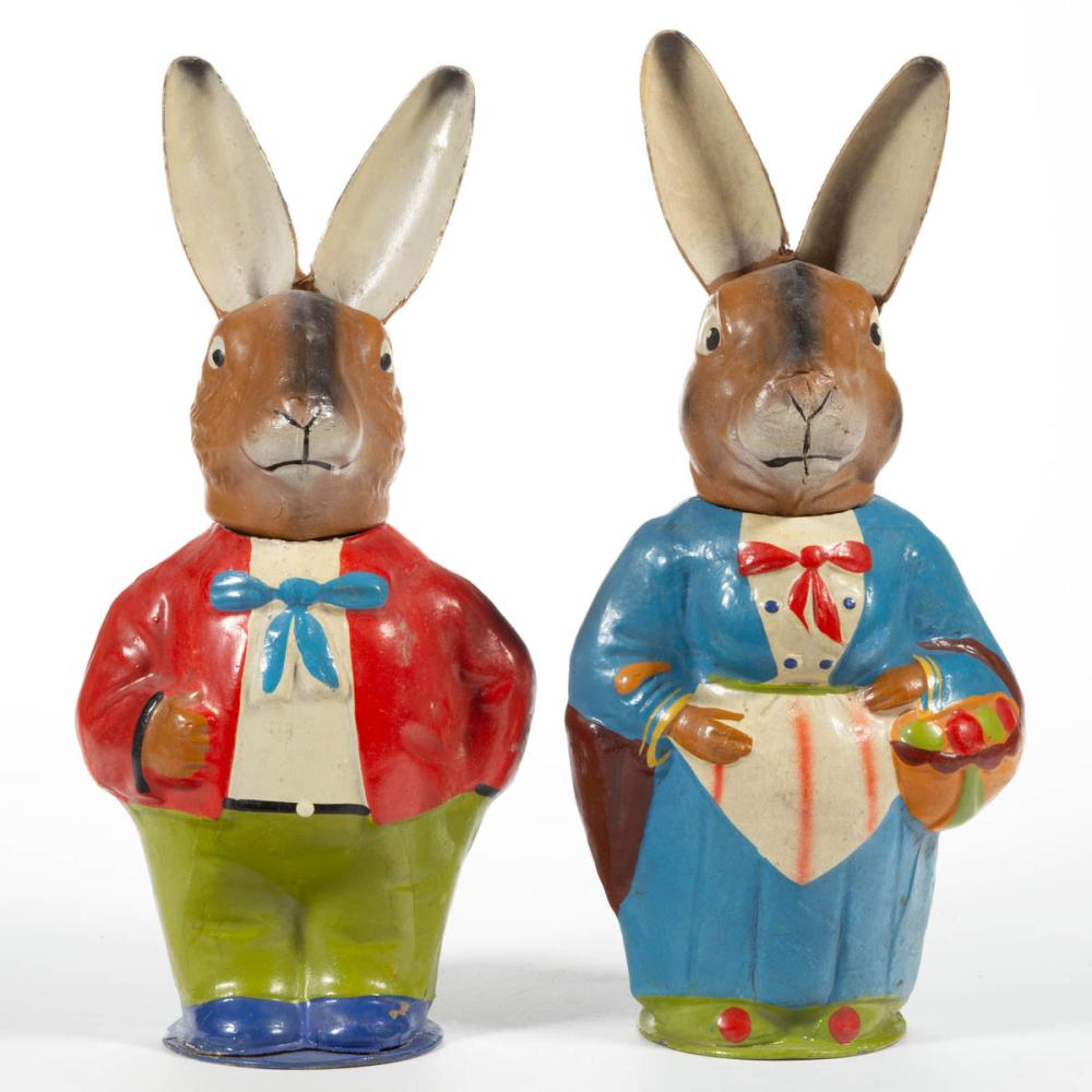 GERMAN MOLDED CARDBOARD RABBIT CANDY CONTAINERS, LOT OF TWO
