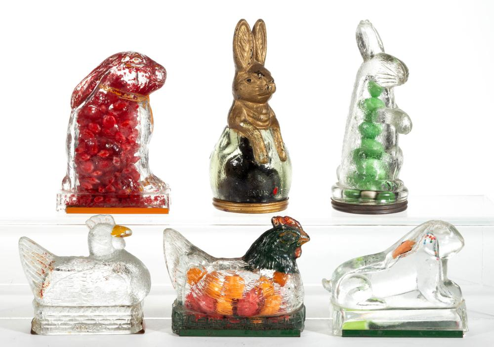 ASSORTED GLASS FIGURAL NOVELTY CANDY CONTAINERS, LOT OF SIX