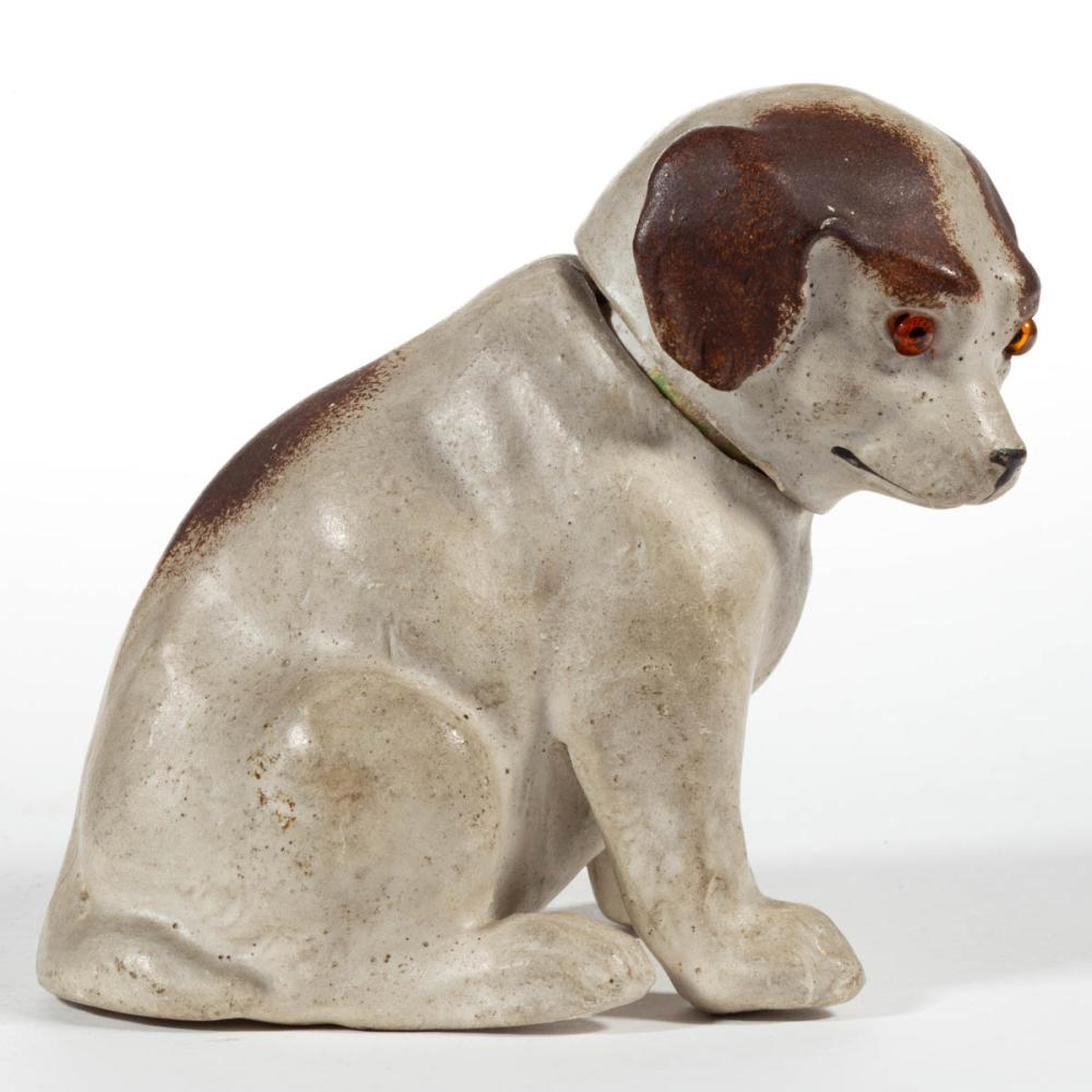 GERMAN COMPOSITION / PAPIER MACHE DOG CANDY CONTAINER